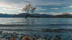 Sunset Timelapse at the shore of Lake Wanaka, New Zealand. Stock Footage