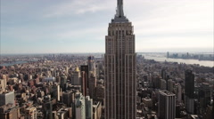NYC Aerial Diagonal Shot With Freedom Tower Poking Out In The Backgound - stock footage
