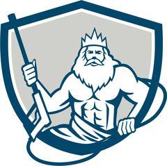 Neptune Power Washer Shield Retro Stock Illustration