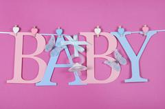 Pink and blue theme Baby bunting letters Stock Photos