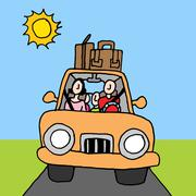 family car road trip - stock illustration