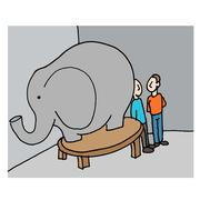 business meeting elephant in the room - stock illustration