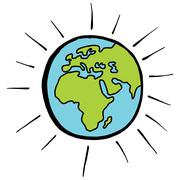 Europe Africa Cartoon Globe Stock Illustration