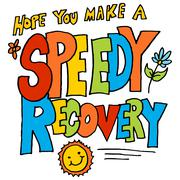 hope you make a speedy recovery message - stock illustration