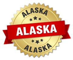Alaska round golden badge with red ribbon - stock illustration