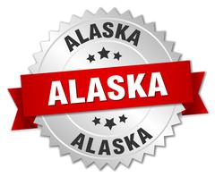Alaska round silver badge with red ribbon - stock illustration