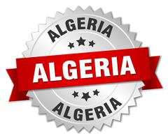 Algeria round silver badge with red ribbon Stock Illustration