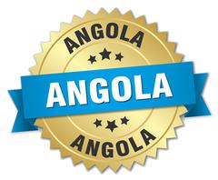Angola round golden badge with blue ribbon - stock illustration