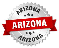 Arizona  round silver badge with red ribbon Stock Illustration