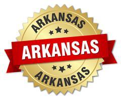 Arkansas round golden badge with red ribbon - stock illustration