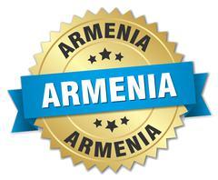 Armenia round golden badge with blue ribbon - stock illustration