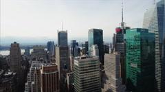 NYC Midtown Clip Met Life BOA Aerial Stock Footage