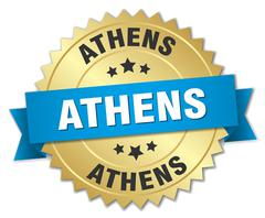 Athens round golden badge with blue ribbon Stock Illustration