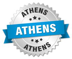 Athens round silver badge with blue ribbon - stock illustration