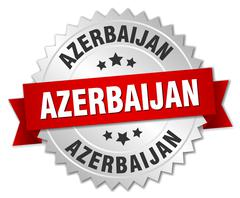 Azerbaijan  round silver badge with red ribbon - stock illustration