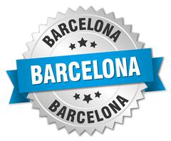 Barcelona round silver badge with blue ribbon Stock Illustration
