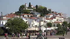 Skiathos Town visited by tourists Stock Footage