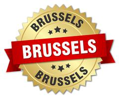 Brussels round golden badge with red ribbon - stock illustration