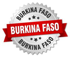 Burkina Faso  round silver badge with red ribbon - stock illustration