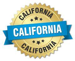 California round golden badge with blue ribbon - stock illustration