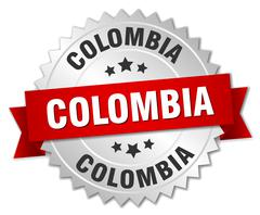 Colombia round silver badge with red ribbon - stock illustration