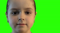 Girl face portrait on a green background ChromaKey Stock Footage
