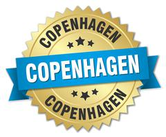 Copenhagen round golden badge with blue ribbon - stock illustration