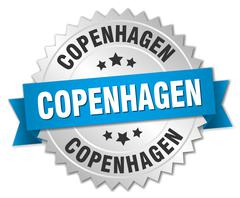 Copenhagen round silver badge with blue ribbon - stock illustration