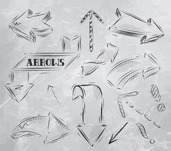 Arrow stylized drawing in charcoal on board - stock illustration