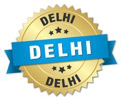 Delhi round golden badge with blue ribbon - stock illustration