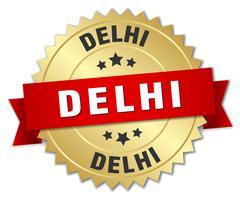 Delhi round golden badge with red ribbon - stock illustration
