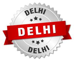 Delhi  round silver badge with red ribbon - stock illustration