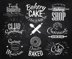 Bakery characters chalk - stock illustration