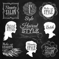 Set Beauty salon chalk - stock illustration