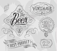Beer elements coal - stock illustration
