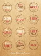 Beer caps color kraft Stock Illustration