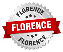 Florence  round silver badge with red ribbon - stock illustration