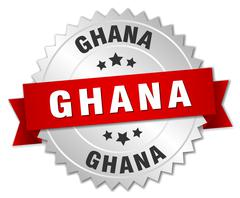 Ghana round silver badge with red ribbon - stock illustration