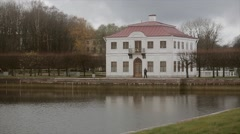 View of Marli Palace in Peterhof State museum Reserve. Security man at enter - stock footage