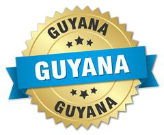 Guyana round golden badge with blue ribbon - stock illustration