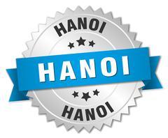 Hanoi round silver badge with blue ribbon Stock Illustration
