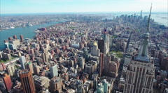 NYC Midtown Aerial Empire State Building Stock Footage
