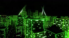 Neon city fly over urban skyscraper glow computer tron matrix 4k Stock Footage
