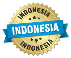 Indonesia round golden badge with blue ribbon - stock illustration