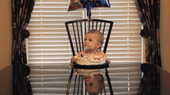 One Year Old Boy Birthday Party With Cake Stock Footage