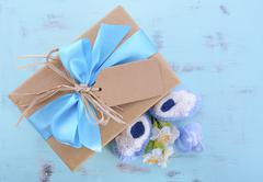 Baby shower Its a Boy natural wrap gift - stock photo