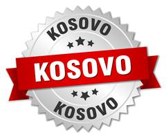Kosovo  round silver badge with red ribbon - stock illustration