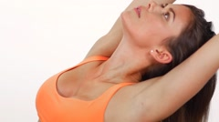 A Young Attractive Female In An Orange Sports Doing A Yoga Pose Stretching Stock Footage