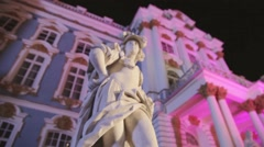 View of white male statue in front of  Catherine Palace in Saint Petersburg Stock Footage