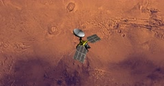 Top view of Mars Reconnaissance Orbiter above Mars at -109 degrees longitude. - stock footage